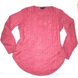 C Wonder Sweater Pink Popcorn Stitch Wool Blend XS